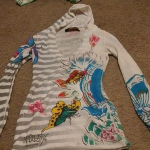 Ed Hardy Hooded Beach Cover Up Size M